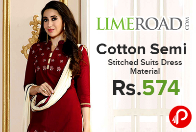 Cotton Semi Stitched Suits Dress Material just at Rs.574 - LimeRoad