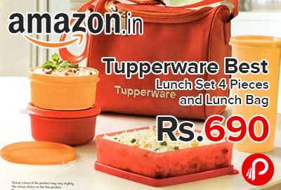 Tupperware Best Lunch Set 4 Pieces and Lunch Bag just Rs.690 - Amazon