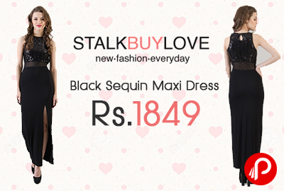 Maxi Dress Black Sequin by Clover Just at Rs.1849 - StalkBuyLove