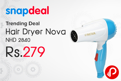 Hair Dryer Nova NHD 2840 Just at Rs.279 - SnapDeal