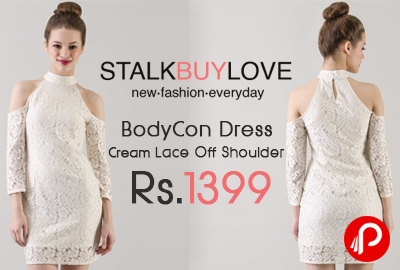 BodyCon Dress Cream Lace Off Shoulder Just at Rs.1399 - StalkBuyLove