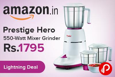 Mixer Grinder Prestige Hero 550 Watt only Rs.1795 - Amazon