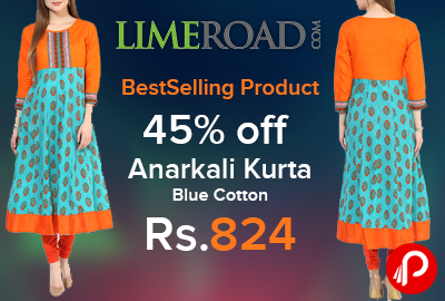 Anarkali Kurta Blue Cotton 45% off just at Rs.824 | BestSelling Product - Limeroad