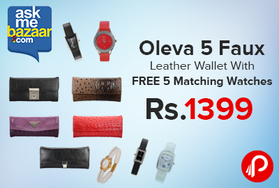 Oleva 5 Faux Leather Wallet With FREE 5 Matching Watches Only in Rs.1399 - Askmebazaar