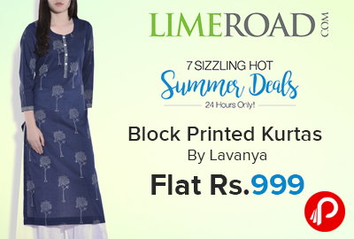 Block Printed Kurtas By Lavanya Flat Rs.999 | Summer Deals - Limeroad
