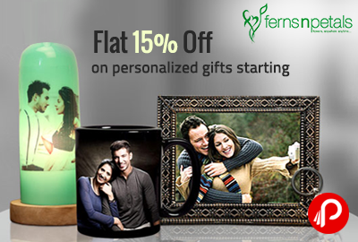 Flat 15% Off on personalized gifts starting Rs.199 - FernsNPetal