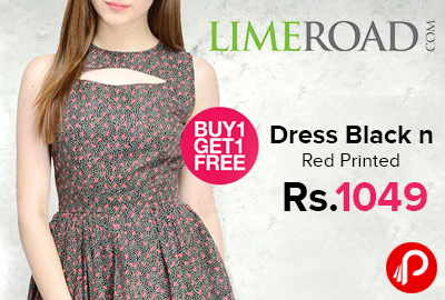 Dress Black n Red Printed Just at Rs.1049 | Buy1 Get 1 - LimeRoad
