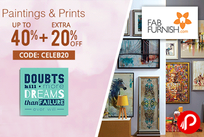 Paintings & Prints Upto 40% + Extra 20% off - FabFurnish