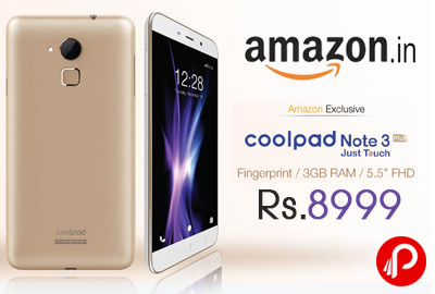 best sneakers d8073 3c743 Coolpad Note 3 Plus Mobile 3GB RAM just Rs.8999 - Amazon