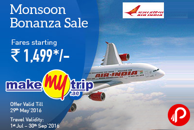 Air India Monsoon Bonanza Sale Domestic Flights - MakeMyTrip
