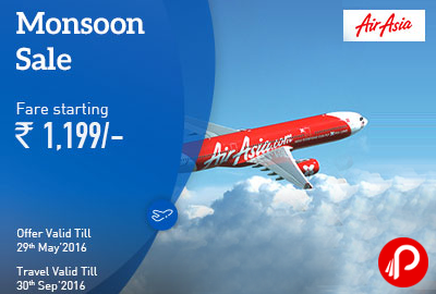 AirAsia Monsoon Sale on Domestic Fares starts Rs.1199 - MakeMyTrip
