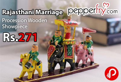 Rajasthani Marriage Procession Wooden Showpiece just Rs.271 - Pepperfry