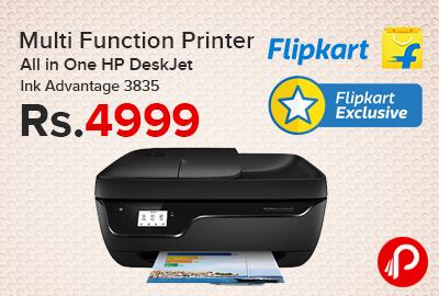 Multi Function Printer All in One HP DeskJet Ink Advantage 3835 at Rs.4999 - Flipkart