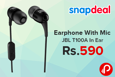 86cc6299246 Earphone With Mic JBL T100A In Ear just Rs.590 – Snapdeal