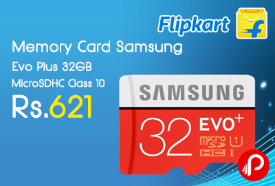Memory Card Samsung Evo Plus 32GB MicroSDHC Class 10 just at Rs.621 - Flipkart