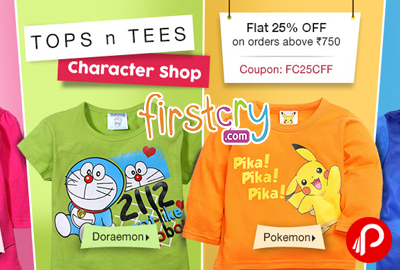 Tops n Tees Character Shop Flat 25% off - Firstcry