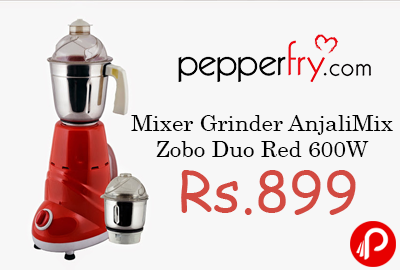 Mixer Grinder AnjaliMix Zobo Duo Red 600W 57% off Rs.899 - Pepperfry