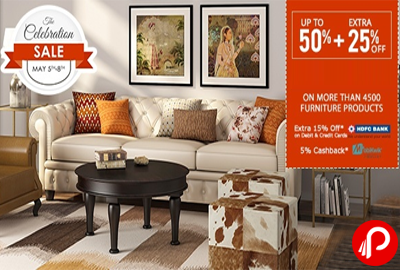 UPTO 50% + Extra 25% off | The Celebration Sale - FabFurnish