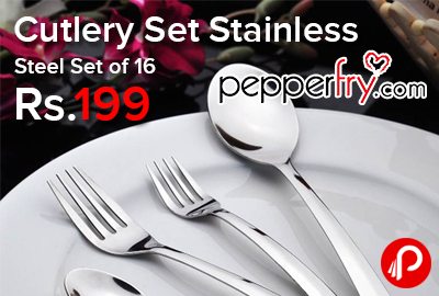 Cutlery Set Stainless Steel Set of 16 just Rs.199 - Pepperfry