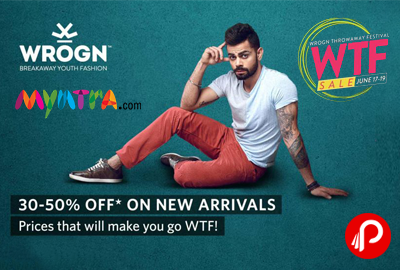 Wrogn Clothing New Arrivals WTF Sale 30% - 50% off - Myntra