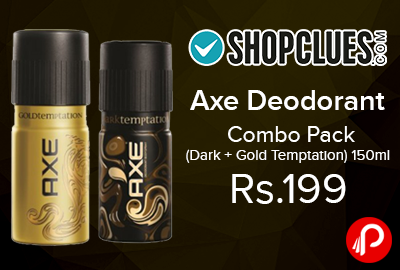 Axe Deodorant Combo Pack (Dark + Gold Temptation) 150ml just @ Rs.199 - Shopclues