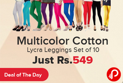 8a8c8f63592a4 Multicolor Cotton Lycra Leggings Set of 10 Just Rs.549 – ShopClues