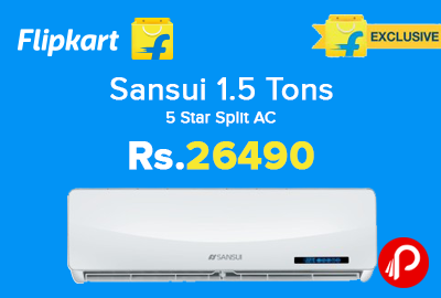 Sansui 1.5 Tons 5 Star Split AC Just Rs.26490 - Flipkart