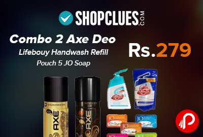 Combo 2 Axe Deo Lifebouy Handwash Refill Pouch 5 JO Soap Just Rs.279 - Shopclues