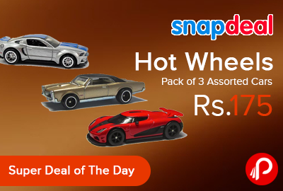 Hot Wheels Pack of 3 Assorted Cars Just at Rs.175