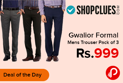 Gwalior Formal Mens Trouser Pack of 3 just Rs.999 - Shopclues