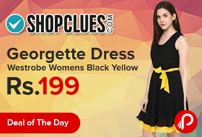Georgette Dress Westrobe Womens Black Yellow just at Rs.199 - Shopclues