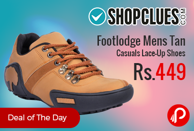 Footlodge Mens Tan Casuals Lace-Up Shoes just Rs.449 - Shopclues
