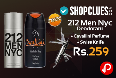 212 Men Nyc Deodorant + Cavallini Perfume + Swiss Knife Just Rs.259 - Shopclues