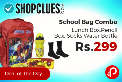 School Bag Combo Lunch Box,Pencil Box, Socks Water Bottle just Rs.299 - Shopclues