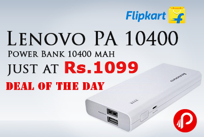 Lenovo PA 10400 Power Bank 10400 mAh just at Rs.1099 - Flipkart