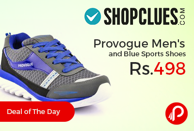 Provogue Men's Grey and Blue Sports Shoes