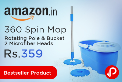 360 Spin Mop Rotating Pole & Bucket 2 Microfiber Heads