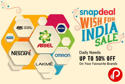 49890068183 Snapdeal Wish For India Sale Upto 50% off on Daily Needs Products – Snapdeal