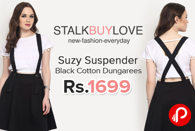 Suzy Suspender Black Cotton Dungarees