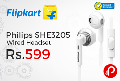 Philips SHE3205 Wired Headset Just Rs.599 - Flipkart