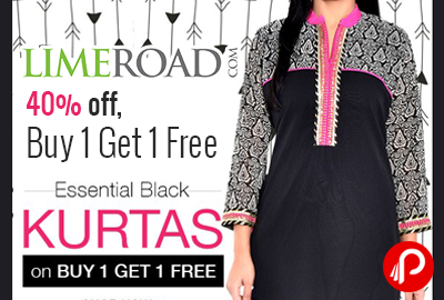 Essential Black Printed Poly Georgette Kurta just Rs.779 | Buy 1 Get 1 Free - Limeroad