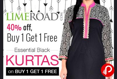 593d5f73b6 Essential Black Printed Poly Georgette Kurta just Rs.779 | Buy 1 Get 1 Free