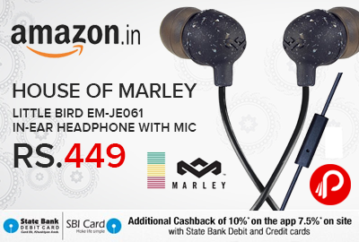 House of Marley Little Bird EM-JE061 In-Ear Headphone With Mic Just Rs.449 - Amazon