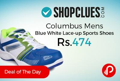 Columbus Mens Blue White Lace-up Sports Shoes