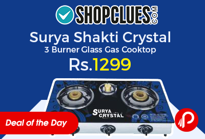 Surya Shakti Crystal 3 Burner Glass Gas Cooktop