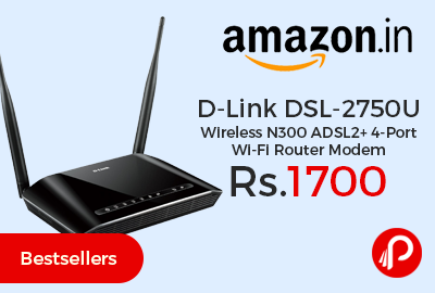 D-Link DSL-2750U Wireless N300 ADSL2+ 4-Port Wi-Fi Router Modem