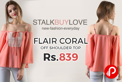 Flair Coral Off Shoulder Top