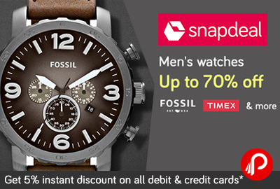 Mens watches Fastrack, Casio, Titan, Timex, Fossil upto 70% off - Snapdeal