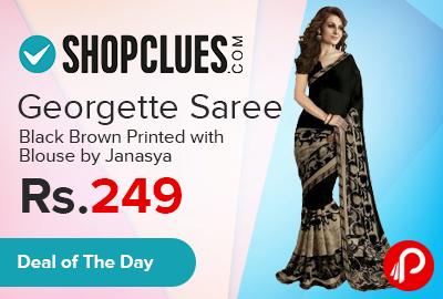 Georgette Saree Black - Brown Printed With Blouse