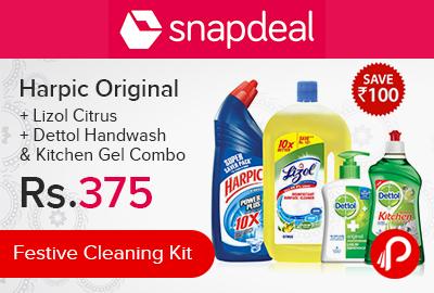 Harpic Original + Lizol Citrus + Dettol Handwash & Kitchen Gel Combo | Festive Cleaning Kit - Snapdeal